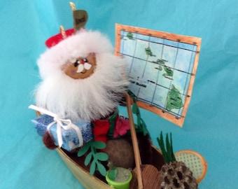 Hawaiian Santa - Christmas Ornament - Santa in a Canoe - Mele Kalikimaka - pineapple - collectible - gift idea - Champagne on ice - Tennis