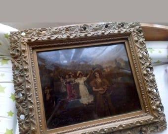 Antique Painting over print by W Menzler - Reverse Painting - Gilt Frame - Oil - Unusual - Quirky - Framed Oil - Print - Art -C.1900-1910