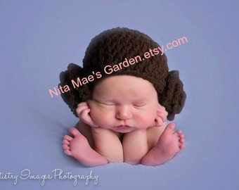 Star Wars Baby Princess Leia Hat Newborn 0 3m 6m Crochet Baby Girls Photo Prop Baby Clothes Daddys Fathers Gift So Cute Christmas Gift