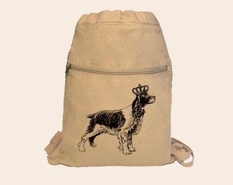 Vintage Springer Spaniel Dog with Crown, Tiara Illustration Canvas Cinch Sack Backpack
