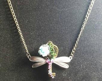 Dragonfly key necklace, dragonfly jewelry, steampunk jewelry, steampunk necklace, key jewelry, key necklace, dragonfly and flower necklace,