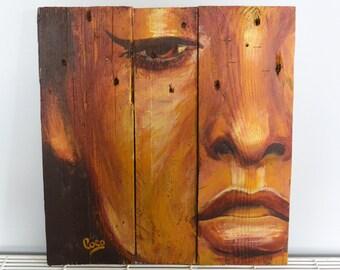 "Painting on wood ""l'adorée"""