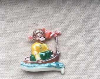 Vintage Boy on Boat Brooch Pin