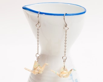 Origami earrings crane in recycled map paper on thin silver chain eco-friendly jewelry -Made to order