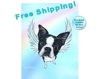 Boston Terrier Angel, Boston Terrier, Dog Angel, Dog With Wings, Boston Terrier Picture, Pet Memorial, Boston Terrier Art, Free Shipping!