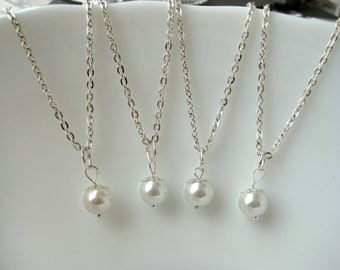 Set of 4-Pearl Pendant Necklaces,  Pearl Bridesmaid Jewelry Gifts, White Pearl Necklace, Bridesmaid Necklaces