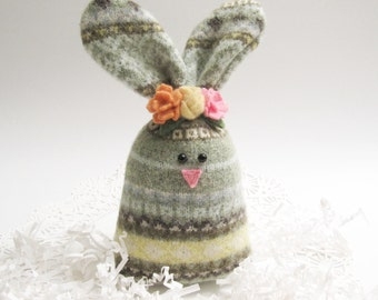 Green Fair Isle Stuffed Easter Bunny Rabbit with Flower Crown Easter Basket Filler Fabric Rabbit Softie Spring Decoration Easter Decor 116