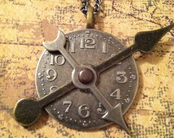 Timepieces Cross Purposes Metal Clock Necklace