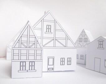 DIY Papier Haus, Bereit Entwurfsvorlage Zu Drucken, Niedliche  Weihnachtsdekoration!, Erstellen Sie