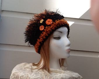 Hand Crocheted Hat with Buttons