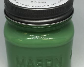 All natural Soy Candles, 8 ounce square glass mason jar, Lemongrass Essential Oil