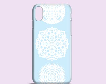 White snowflakes phone case / Doily iPhone X case, iPhone 8 case, Festive iPhone 7, iPhone 6/6S, iPhone 5, SE / Samsung Galaxy S7, S6, S5
