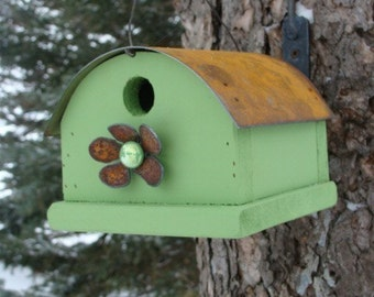 Green Birdhouse, Outdoor Bird House, Functional Birdhouse, Outdoor Garden Decor, Rustic Birdhouses, Gift for Gardener, Lime Green