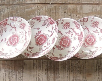 Royal China Pink Traditions Transferware Dessert Bowls, Retro Restaurant Ware, Mid Century Berry Bowls Ca. 1959