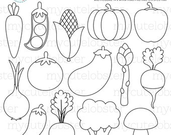 Vegetables Digital Stamps - stamps, line art, outlines, food, veggies, coloring - personal use, small commercial use, instant download