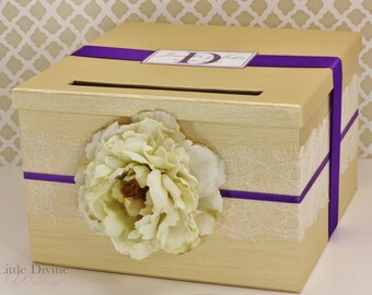 Wedding Card Box Champagne Gold and Bright Purple Money Holder Customizable