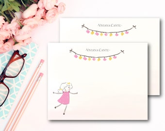 Pink Stationery/ Kids Stationery/ Set of 12 Flat Cards