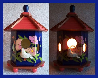 Birdhouse Night Light Lamp, Detailed hand painted design  no. 1, Table  Night Light, Decorative Lighting, Table Lamp