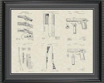 Browning Firearms Patent Art Wall Hanging   Hunter Marksman Shooter Gift PBRWN2024