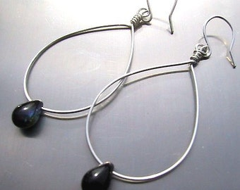 Lonely teardrops silver hoop earrings