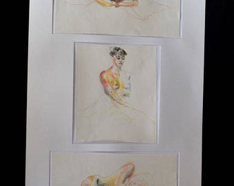 Triptych with color pencils
