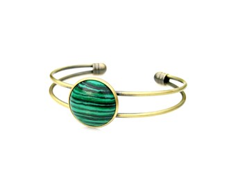 Green Malachite Cuff Bracelet Gemstone Gold Antique Bronze Wrap Adjustable Cuff Boho Trendy Chic Rustic Country Flair by Mei Faith