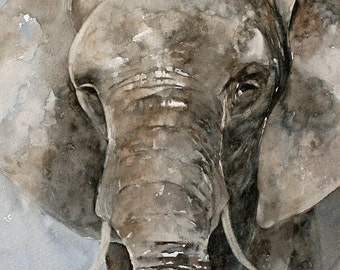 ATC watercolor painting animal painting elephant painting elephant print elephant art print african artwork SMALL Artist Trading Card