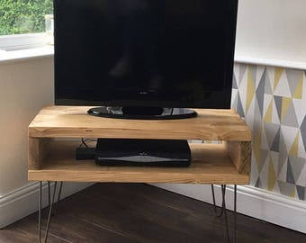 Solid Pine Box TV Stand With Hairpin Legs