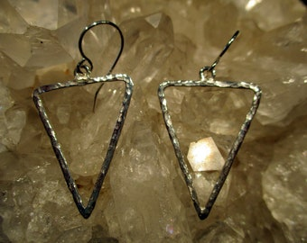 Hammered Triangle Dangle Earrings ~Sterling Silver~ Handmade
