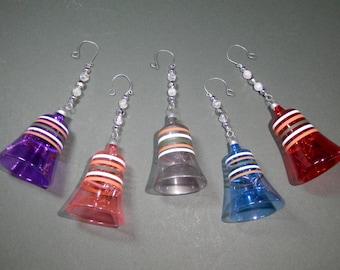 5 Retro1960s Holiday Tree Bell Ornament Set Plastic Shatterproof Stripe Colorful Translucent Unbreakable Multicolor Midcentury Re Design EUC