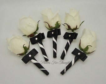 White Rose Boutonniere, Rosebud Buttonhole Flower, Black and White, 1 Mens Lapel Pin