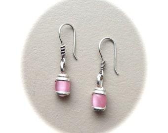 Sterling Silver Pink Drop Earrings
