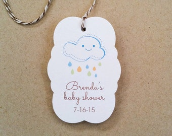 Custom Shower Gift Tags - Baby Shower Thank You Tags - Baby Gift Tags, With Cloud and Raindrops - Thank you favor tags - Set of 12 (TB-03)