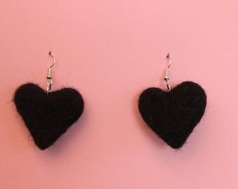 Black Heart Felt Dangly Earrings