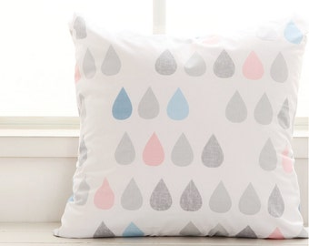 Cotton Fabric Raindrops Pastel Blue By The Yard