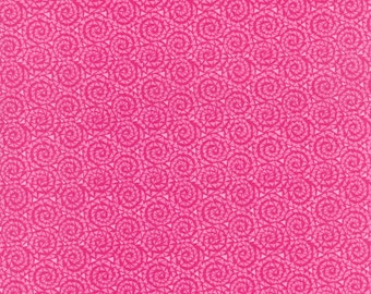By The HALF YARD - Triangles in Motion, Pink Small Triangles in Swirls on Bright Pink Circles, Light Pink Random Triangles