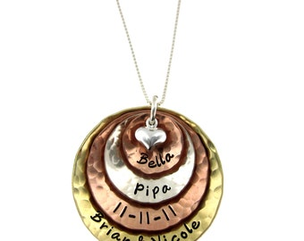 Multi Metal Hand Stamped Jewelry - Four Layers Hammered and Domed Necklace
