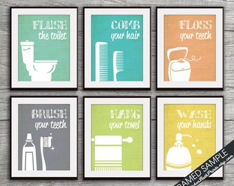 Funny Bathroom Prints - Set of 6 - Art Print (Featured in Brushed Steel U, K, R, W, O and L) Customizable Bathroom Prints