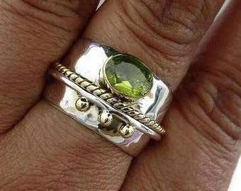 Peridot Ring Hammered Wide Sterling Silver/Brass Rope Detail, August Birthstone Ring, Peridot Silver Rings, Boho Rings, Mistry Gems, R16P