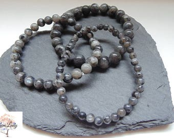 Larvikite 4mm, 6mm or 8mm Round Bead Beaded Stretch Bracelet ~ Gemstone Crystal Healing ~ Handmade