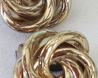 Vintage gold knot clip on earrings - chunky 1980s