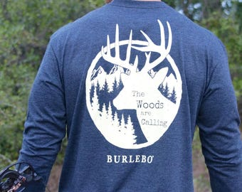 The Woods Are Calling-Deer Shirt-Hunting-Hunter-Hunter Shirt-Antlers-Deer-Woods-Burlebo Shirt-Hunting Shirt-Fall Shirt-Preppy Fall Shirt
