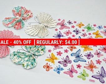 Destash Butterfly Embellishments, 3d Paper Butterflies with Adhesive, Butterfly and Flower Glitter Sticker set