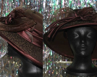 Verucci Wool Hat with Decorative Bow and Feathers *Excellent Condition