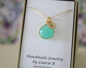 2 Monogram Bridesmaid Necklace Green, Bridesmaid Gift, Sea Foam Gemstone, Gold, Initial Jewelry, Personalized, Initial Charm