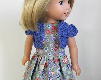 """14.5"""" Doll Clothes Sleeveless Gray Dress and Crocheted Royal Blue Bolero Handmade to fit Wellie Wishers Dolls - Gray and Multi Color Flowers"""