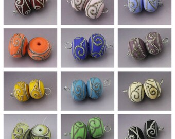 Handmade Lampwork Beads SRA Lampwork Bead Southwest Glass Bead Pair Scrollwork Beads Blue Orange Pink Black Purple Green Heather Behrendt