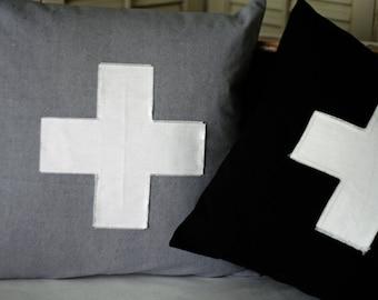 "16"" Pillow Cover Swiss Cross Applique Envelope Style Closure"