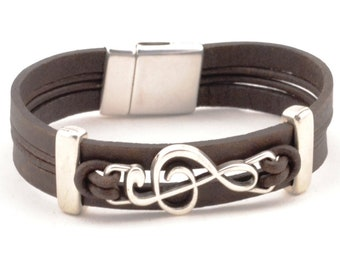 FATHERS DAY GIFT treble clef bracelet, music note bracelet, music teacher gift, men women leather bracelet, music gifts, piano teacher, treb