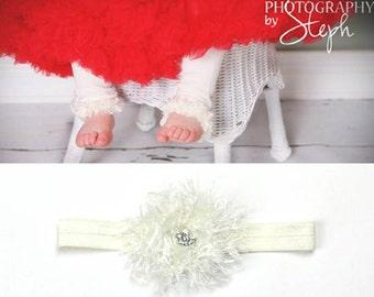 Off White Easter  Baby Leg Warmers Headband Set